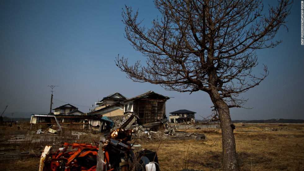 A devastated area stands still Sunday in Odaka, a hard-hit city within the former exclusion zone set up after the Fukushima Daiichi facility had released radiation.