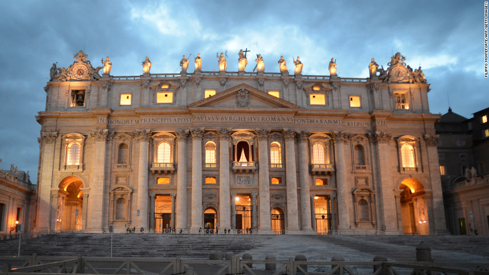 St. Peter's Basilica is seen at sunset on the eve of the conclave on March 11.