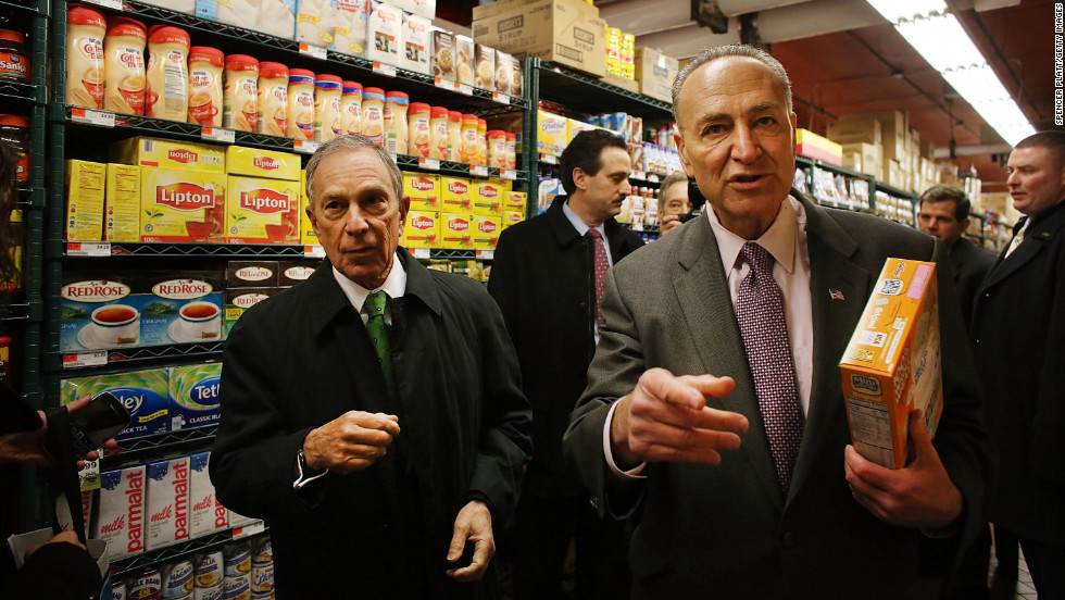 Bloomberg and Schumer shop in the newly reopened Fairway Market on the waterfront in Red Hook in March 2013. Fairway closed after severe flooding during Hurricane Sandy.