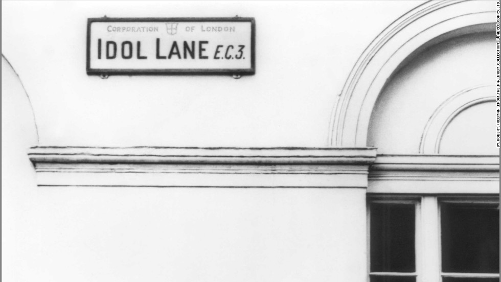 Paul McCartney stands beneath this apt East London road sign, Idol Lane, in 1965 at the peak of the Beatles' career.