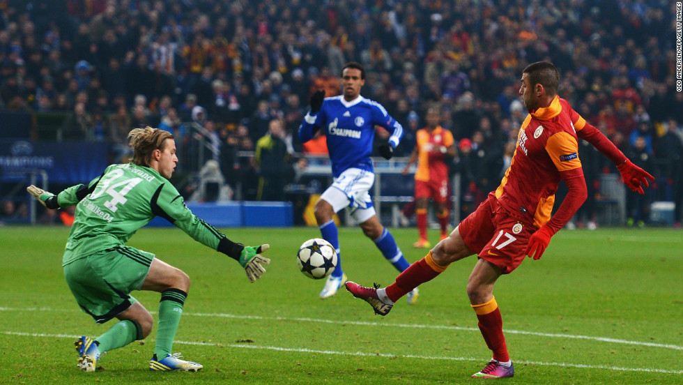 Galatasaray continued to look threatening and took a 2-1 lead three minutes before the break when Buruk Yilmaz ran through to score his eighth goal in this year's Champions League.