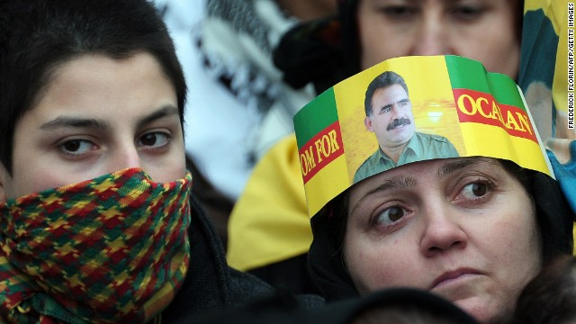 Abdullah Ocalan (pictured on headband) is the leader of the PKK, he was captured and imprisoned by Turkey in 1999.