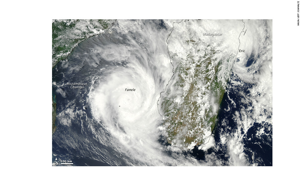 On January 19, 2009, two tropical cyclones -- or hurricanes -- bore down on Madagascar, near where the Queequeg was sailing.