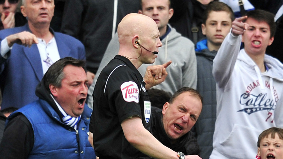 "The English Premier League has instigated a ""Respect"" campaign in a bid to stop match officials being subjected to abuse -- such as this during match between Queens Park Rangers and Stoke in May 2012."