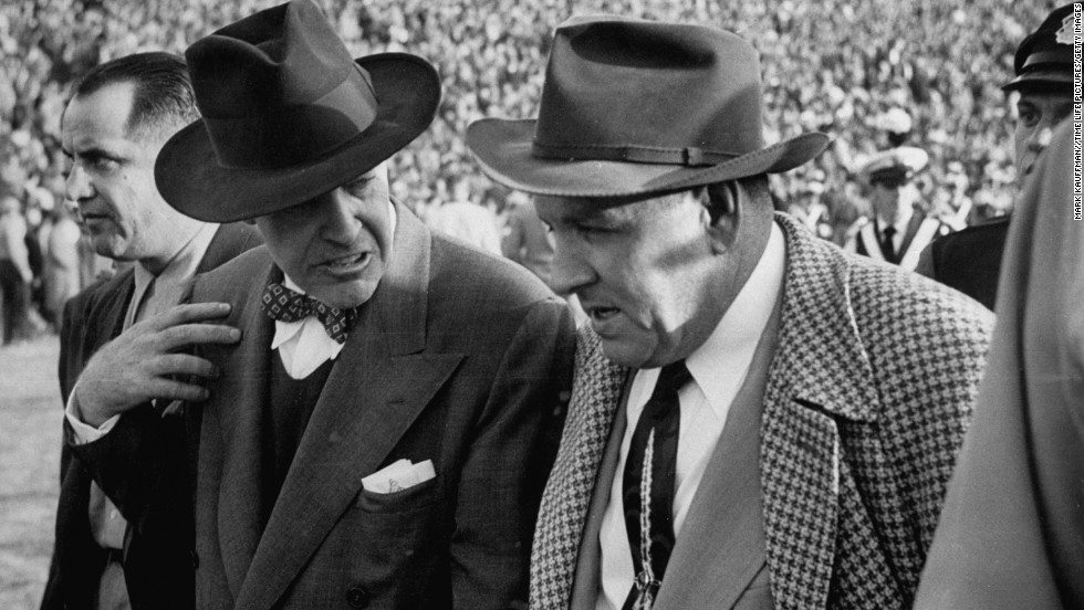 "Francis William ""Frank"" Leahy -- One of the great college football coaches led Notre Dame to glory in the 1940s and '50s. Here, Lehy, left, congratulates Michigan State head coach Biggie Munn after a game in 1950."
