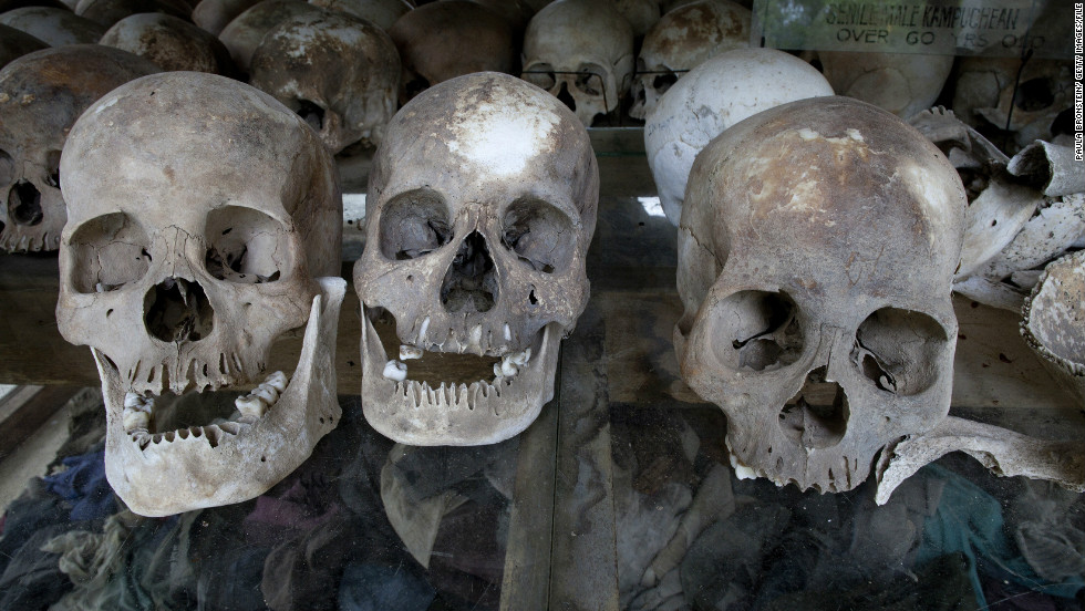 File photo of the Choeung Ek Genocidal Center,  where 8,000 human skulls sit in a glass case, in Phnom Penh province. One of the leaders of the Khmer Rouge - responsible for killing more than 1 million people --  died Thursday.