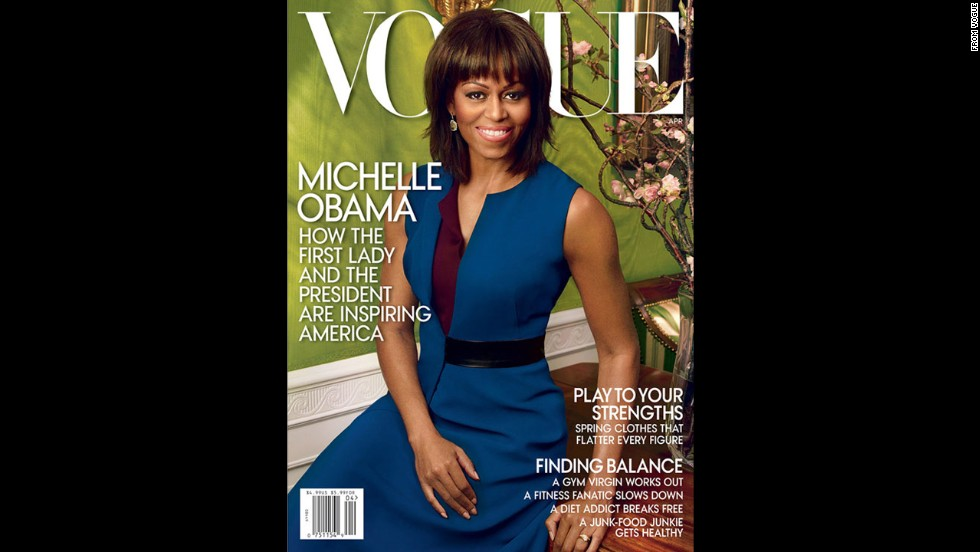 Obama appears on the cover of April's edition of Vogue, the second time the first lady has graced the front of the fashion bible.