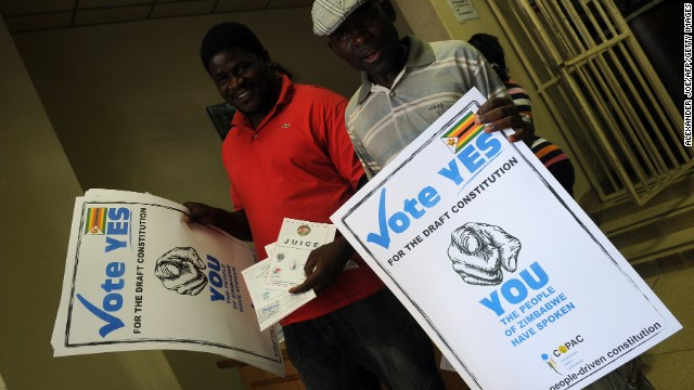 Posters call on Zimbabweans to say yes during the March 16 vote on the constitutional referendum.