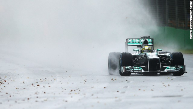 Mercedes driver Nico Rosberg set the fastest time in the opening qualifying session before rain intervened on Saturday.
