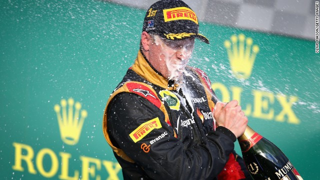 Kimi Raikkonen of Finland and Lotus celebrates after winning the Australian Formula One Grand Prix, Melbourne. March 17, 2013.