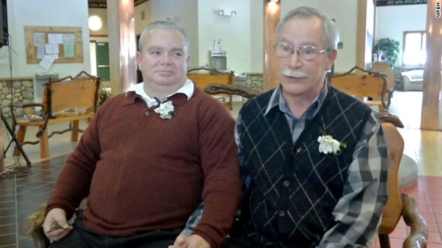 Following the signing of a bill authorizing same-sex marriage, the chairman of a northern Michigan Indian tribe presided over the union of Tim Lacroix and longtime partner Gene Barfield.
