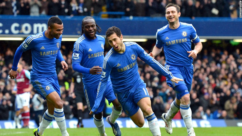 Eden Hazard was on target and Frank Lampard scored his 200th goal for Chelsea as it moved into third place in the Premier League with a 2-0 win over West Ham.
