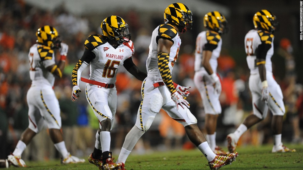 State pride is great and all, but there are times when flags shouldn't be fashioned into uniforms. Pictured, the Maryland Terrapins play head games at Byrd Stadium in September 2011.