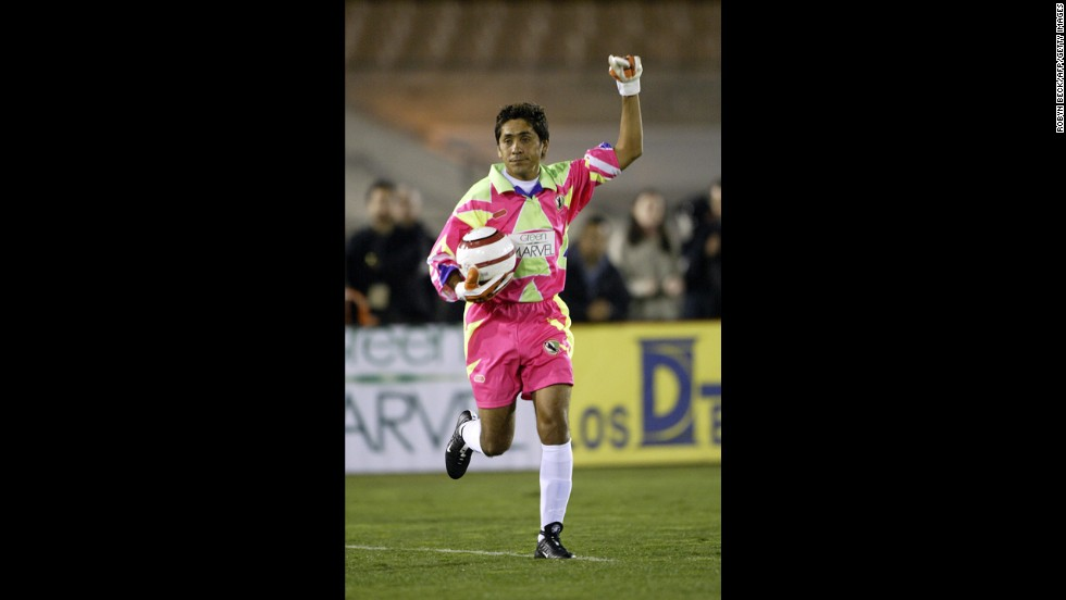 Mexican goalkeeper Jorge Campos notoriously sported the ugliest goalie uniforms ever made. Campos dons an '80s jumpsuit-inspired outfit in his retirement match against Brazil in November 2004.