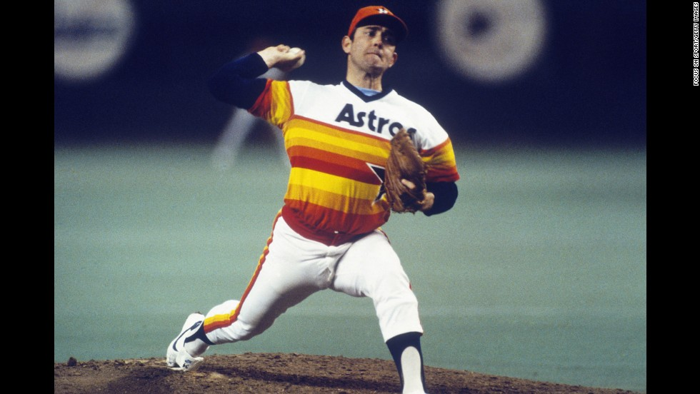Nolan Ryan of the Houston Astros may have been one of the most dominant hurlers to take the mound, but he looked like an orange Popsicle while pitching during the 1980s in Houston.