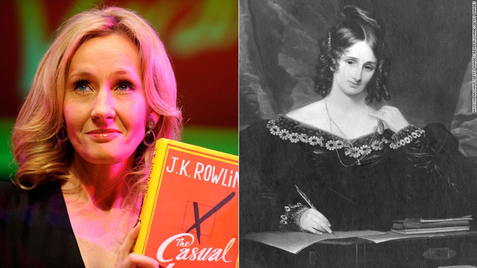"Born in 1797 in London, <a href=""http://www.duluth.lib.mn.us/programs/frankenstein/shelleybio.html"" target=""_blank"">Mary Shelley</a>, right, became a writing prodigy and a bit of a sensation when she published the legendary horror novel ""Frankenstein"" in 1818 at the age of 21. Some speculated that Shelley's husband, poet Percy Bysshe Shelley, actually wrote the novel. However, Mary Shelley went on to write several books after his death in 1822. Though less connected in the literary world and a struggling single mother when she parlayed her vivid imagination into success, Brit <a href=""http://www.jkrowling.com/en_US/#/about-jk-rowling/"" target=""_blank"">JK Rowling</a>, left, also caused a stir with the publication of her first novel, ""Harry Potter and the Sorcerer's Stone,"" in 1999. Rowling has gone on to write six more Harry Potter books as well as the adult-themed novel Casual Vacancy."