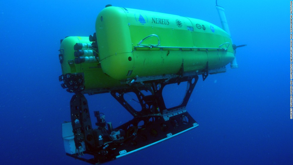 Woods Hole Oceanograhic Institution's Nereus is a one-of-a-kind vehicle that operates as a free-swimming robot to conduct surveys and close-up investigations of seafloor organisms. It reached Challenger Deep in 2009 and in 2014 will be used to conduct the first systematic study of life in ocean trenches.