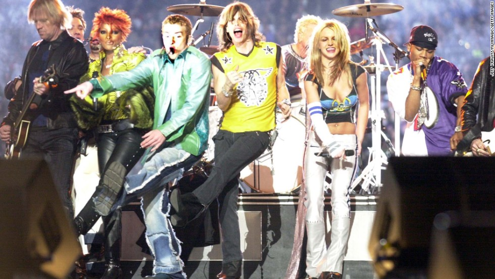 From left, Timberlake, Steven Tyler, Spears and Nelly perform during the 2001 Super Bowl halftime show.