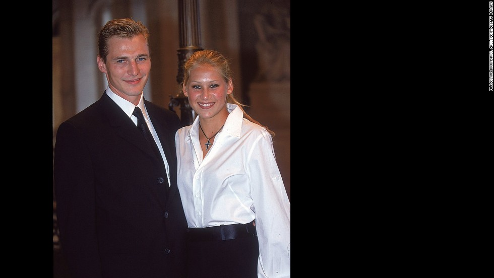 Professional hockey player Sergei Fedorov admitted in 2003 that he and tennis heartthrob Anna Kournikova had briefly been married after they had already divorced. It had been rumored since 2001, according to SI.com. Pictured, Fedorov and Kournikova pose for photos at a French Open event in Paris in October 2000.