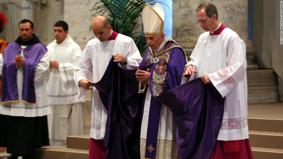 Pope Benedict XVI arrives to lead the mass for Ash Wednesday, on February 13, 2013. He wore this purple chasuble to open Lent, the 40-day period of abstinence and deprivation for the Christians, before the Holy Week and Easter. Purple is worn during the seasons of Advent and Lent.
