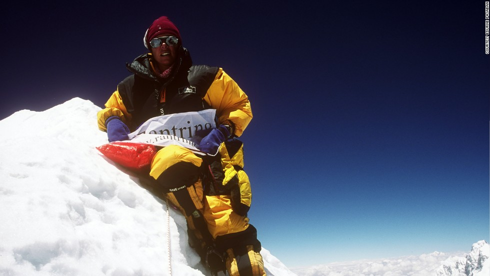 "Pasaban, pictured here at the summit of Makalu in 2002, studied industrial engineering at university and initially joined the family engineering firm. <br /><br />""After climbing the Everest I realized this was my passion and that the path I wanted to follow was to do expeditions,"" she says. ""My father made me face the dilemma of choosing between my engineering career and concentrating on professional climbing. At that moment, I heard my heart."""