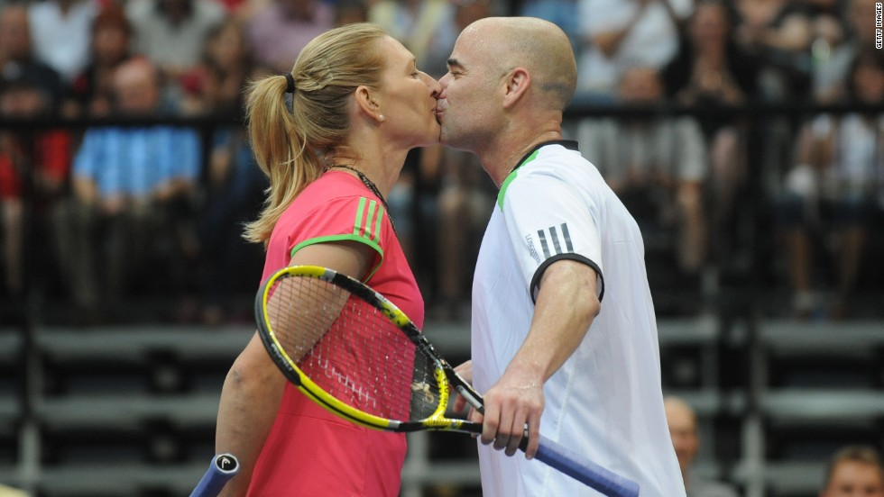 Husband-and-wife team Andre Agassi and Steffi Graf are tennis royalty - in more ways than one. Boasting 30 grand slams between them, the American married the German in 2001 for the highest-profile relationship - and arguably the most popular - the sport has produced.
