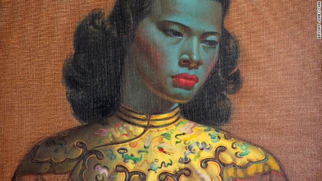 "Detail from Vladimir Tretchikoff's ""Chinese Girl,"" which is up for auction at Bonhams in London."