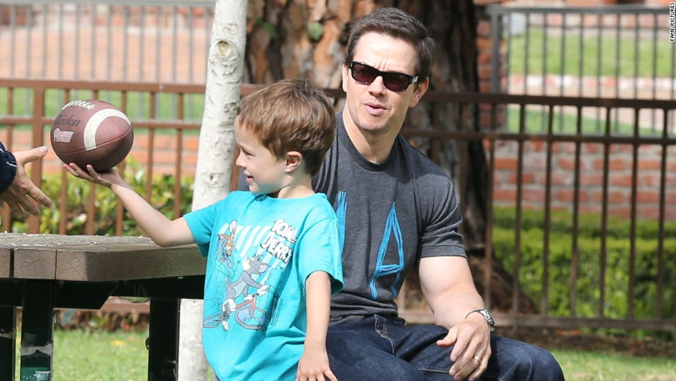 Mark Wahlberg spends time with his son at a park in Beverly Hills.