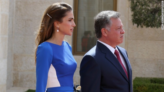 King Abdullah of Jordan and Queen Rania arrive at the Royal Palace on the second day of Charles and Camilla's visit to the country on March 12, 2013 in Amman, Jordan.