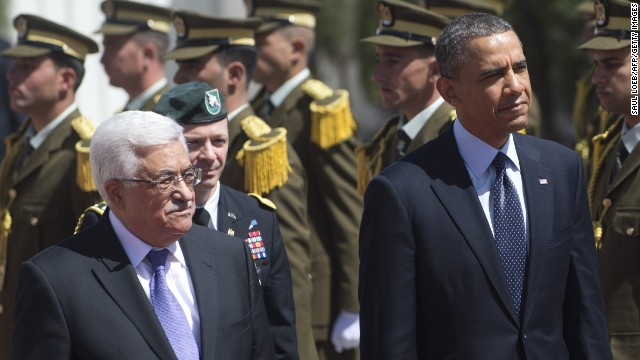 President Barack Obama and Palestinian president Mahmud Abbas at the Palestinian Authority headquarters in Ramallah.