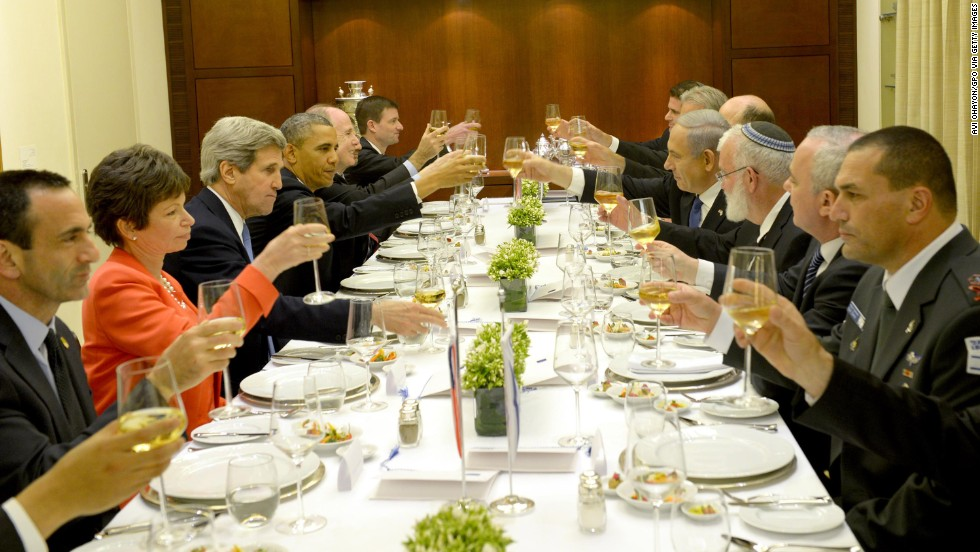 Israeli Prime Minister Benjamin Netanyahu, center right, hosts Obama at a dinner on Wednesday, March 21, Jerusalem, Israel.  Obama is making his first trip to Israel as president.