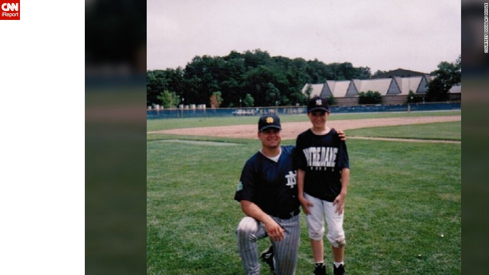 "Twenty-one years ago, <a href=""http://ireport.cnn.com/docs/DOC-929233"">Douglas Mogle</a> got his favorite Notre Dame baseball jersey at summer camp. Although it's worn and a tad bit smaller, he said looking at it inspires him to get back in shape."