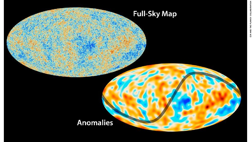 The Planck mission has created a map of the oldest light in our universe, called the cosmic microwave background. The results fit well with what we know about the universe and its basic traits, but some unexplained features are observed. One anomaly is that the variations in temperature are not uniform throughout the sky, as shown here.
