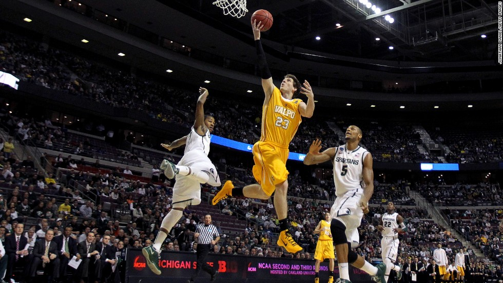 Valparaiso's Matt Kenney goes for 2 points against Michigan State on March 21.