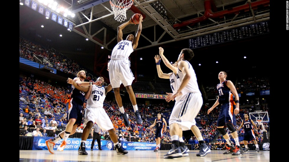 Kameron Woods of Butler grabs the rebound during the March 21 game against Bucknell.
