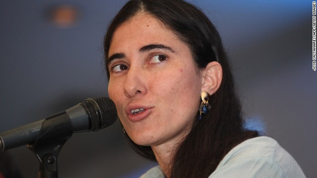Cuban dissident blogger Yoani Sanchez, pictured here speaking at a press conference in Puebla, Mexico on March 10 2013, is in the United States as part of an 80-day tour of 10 countries that she began in February.