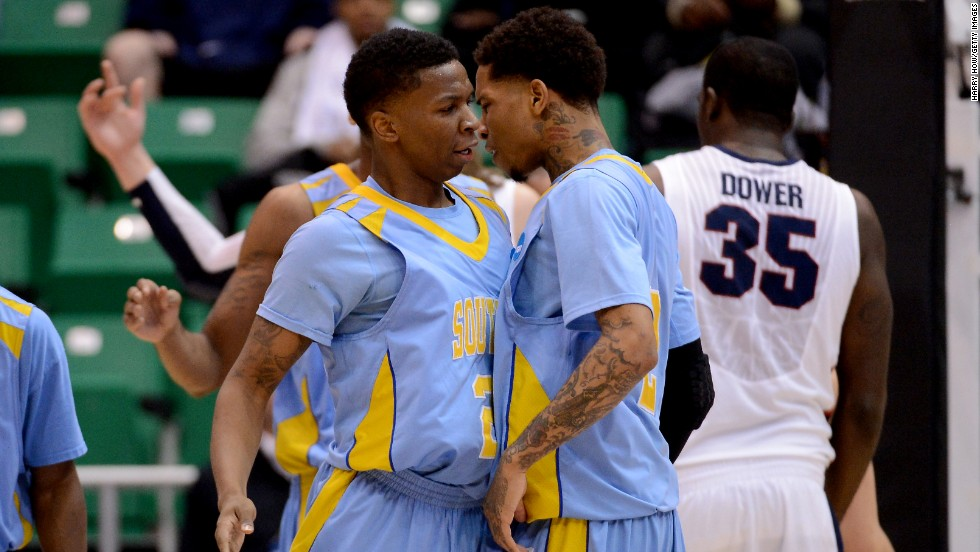 YonDarius Johnson, left, and Derick Beltran of Southern University celebrate in the first half while taking on Gonzaga on March 21.