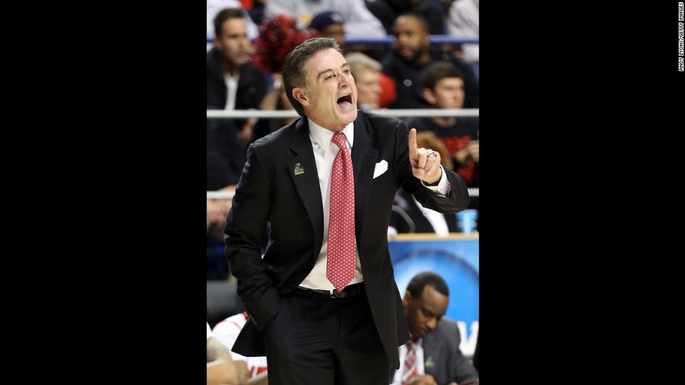 Head coach Rick Pitino of the Louisville Cardinals shouts from the sidelines against N.C. A&T on March 21.