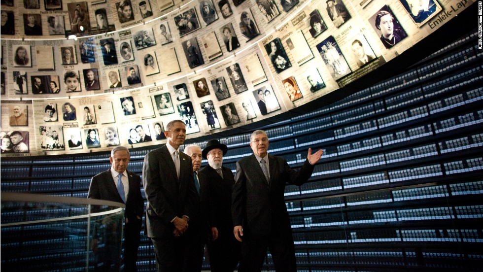 "President Barack Obama visits the Hall of Names at the <a href=""http://www.yadvashem.org/"" target=""_blank"">Yad Vashem Holocaust memorial</a> with Israeli Prime Minister Benjamin Netanyahu, left, Israeli President Shimon Peres, center, Rabbi Yisrael Meir Lau and Avner Shalev, the museum's director, on Friday, March 22, in Jerusalem.  As part of his Mideast tour, Obama wrapped up his first trip to Israel as president and arrived in Jordan, another key ally, on Friday."