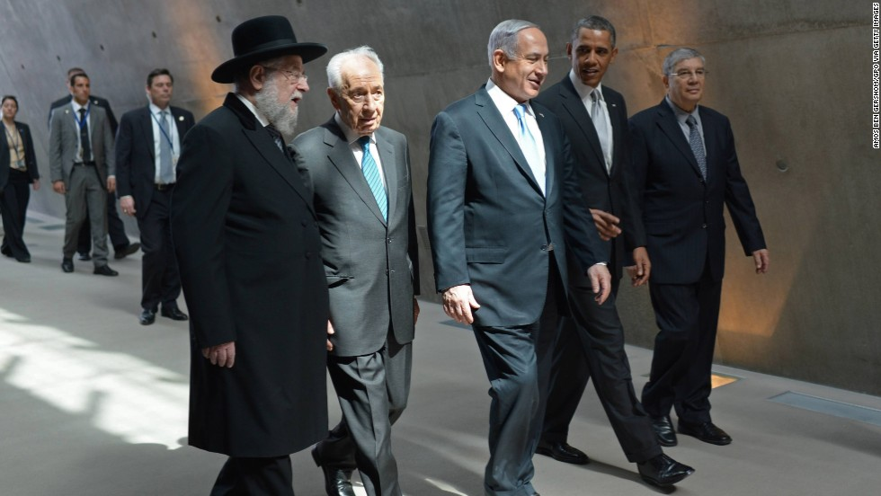 Obama tours Yad Vashem with Israeli leaders on March 22. The stop was part of an effort to help bolster the U.S. president's standing with Israelis by showing his understanding of the history of the Jewish state.