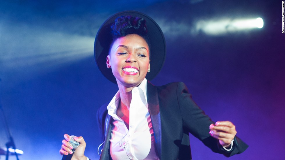 Janelle Monae jams on stage at the Best Buy Theater in New York on March 21.