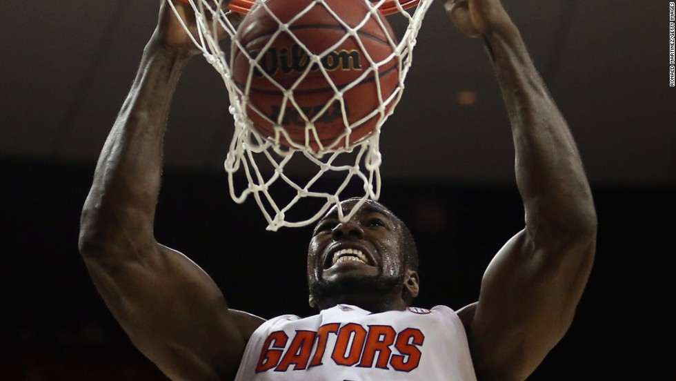 Patric Young of the Florida Gators dunks against the Northwestern State Demons on March 22 in Austin, Texas.