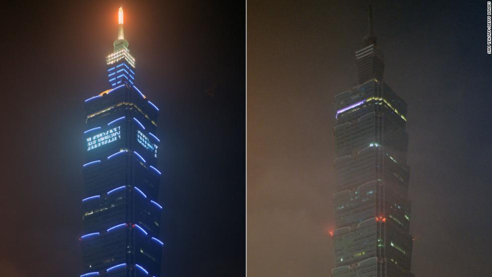 This combo photo shows the 508-meter-high Taipei 101 building illuminated and with lights turned off during Earth Hour in Taipei.