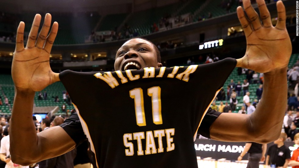 Cleanthony Early of the Wichita State Shockers celebrates after defeating the Gonzaga Bulldogs 76-70 on March 23 in Salt Lake City, Utah.