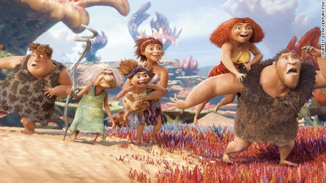 "Thunk, Gran, Sandy the baby, Ugga, Eep and Grug from ""The Croods."""