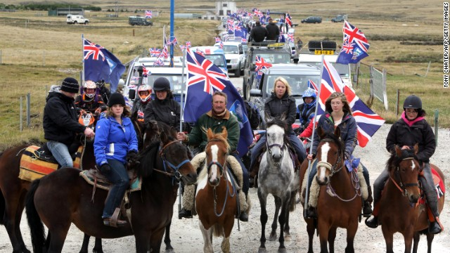 "Falkland Islanders take part in the ""Proud to be British"" parade along Ross Road in Port Stanley on March 10."
