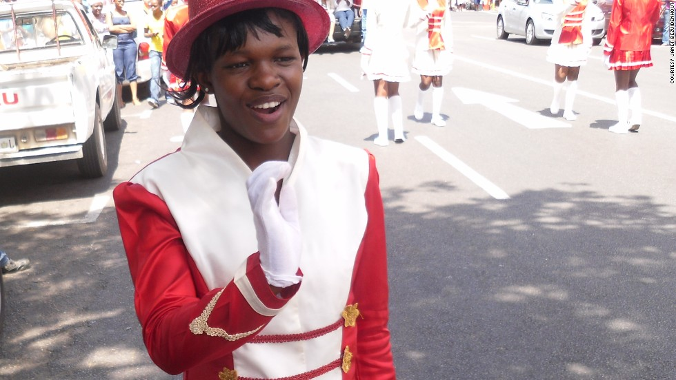 A drum majorette practices her routine. Bezzi's Youth Brass Band has become so popular there is a waiting list of 30 people. Without sponsorship Bezuidenhout cannot cater for them.