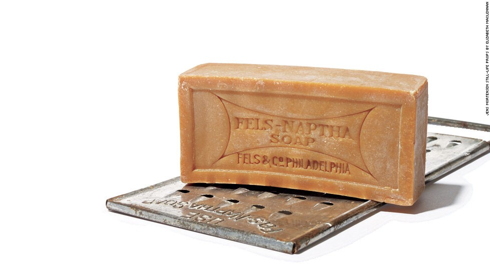 "In 1893 the Fels soap company added naphtha, a kind of solvent, to their formula to create a much loved product that thrives to this day. Use it to pretreat oily (or otherwise tough) stains, like chocolate, makeup, baby formula, and ring around the collar. ""Wet the bar, rub on, let sit for a few minutes, and wash as usual,"" says Steve Boorstein, the author of ""The Clothing Doctor's 99 Secrets to Cleaning and Clothing Care."""