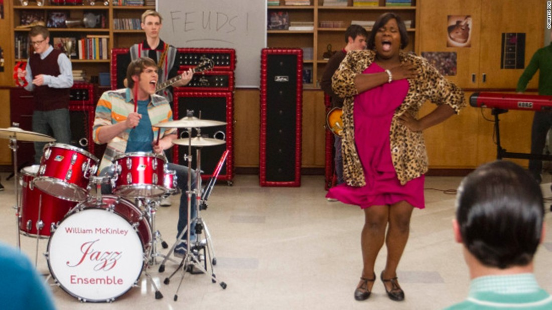"""Glee"" introduced its first transgendered teen character in 2012. ""Unique,"" right is played by Alex Newell."