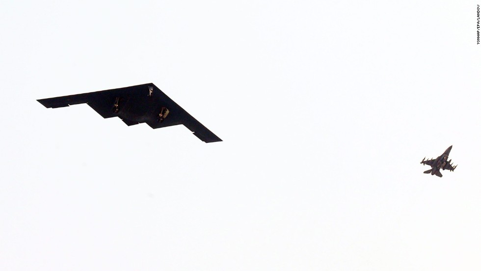 The United States said Thursday, March 28, that it flew stealth bombers over South Korea to participate in annual military exercises amid spiking tensions with North Korea. Pictured, a B-2 Spirit stealth bomber flies over South Korea's western port city of Pyeongtaek.